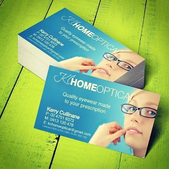Business cards designed for KC Home Optical at the Blue Mountains in Australia. Kerry has Benin the business for over 25 years and has an amazing range of frames to suit everyone. Visit www.concept-designs.com.au for more business card designs.