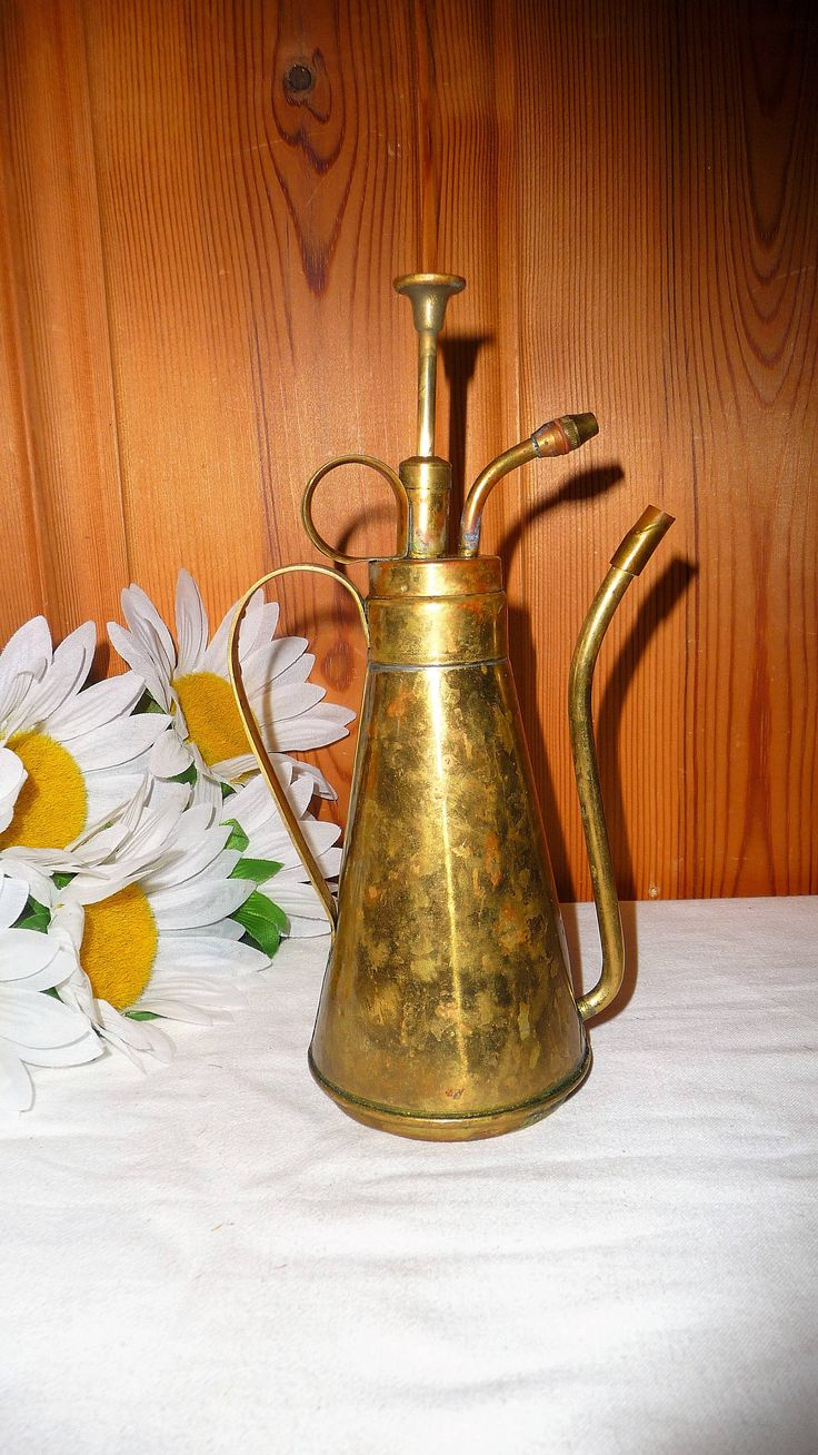 Antique Brass Oil Can Metal Oiler Pump Rustic Tool Vintage Home Industrial Decor by Grandchildattic on Etsy