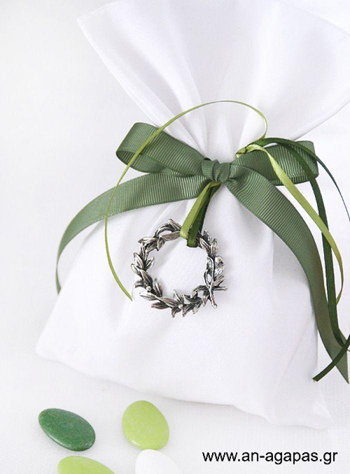 Μπομπονιέρα γάμου πουγκί λευκό λονέτα στεφάνι – Favor Kit   an-agapas.gr