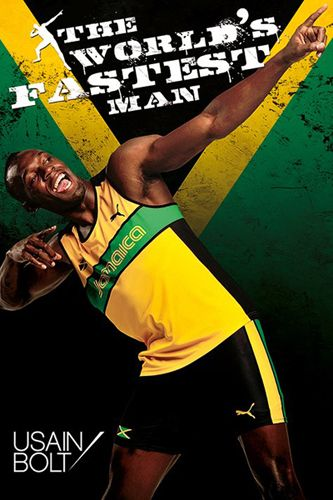 Usain Bolt WORLD'S FASTEST MAN (Arrow to the Moon) Track Running Poster ~Available at www.sportsposterwarehouse.com
