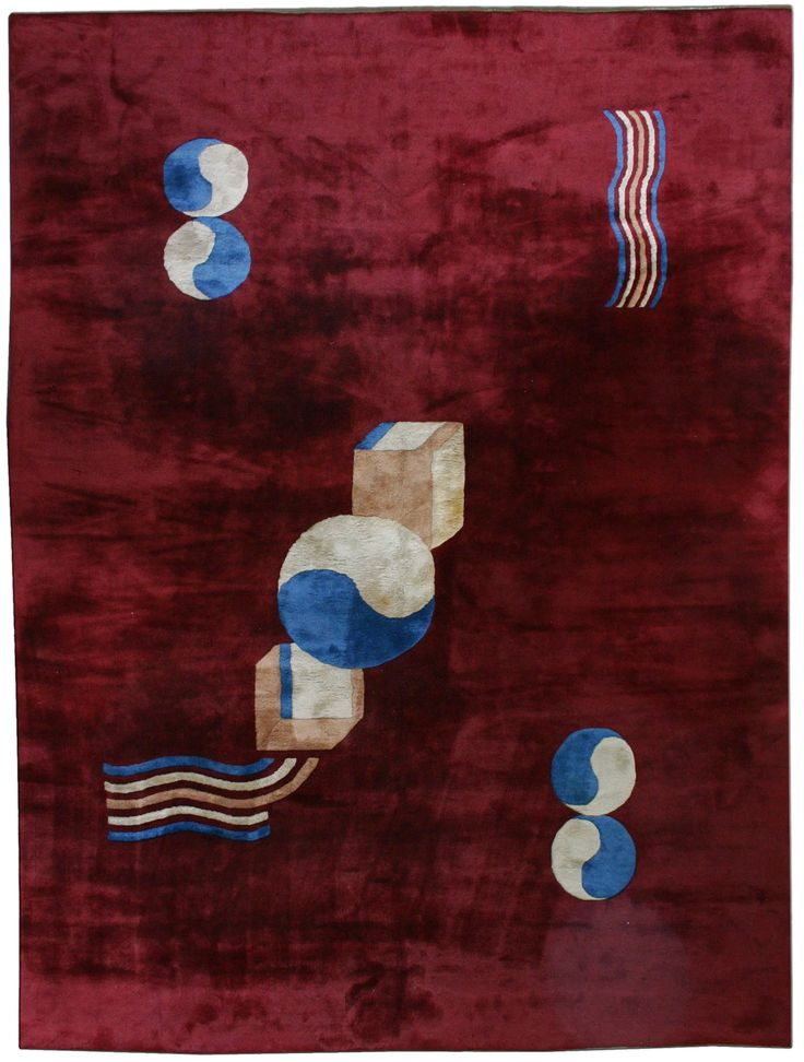 Vintage Rugs: Vintage Rug Chinese Art Deco  for modern or oriental interior decor living room, rug with geometric pattern