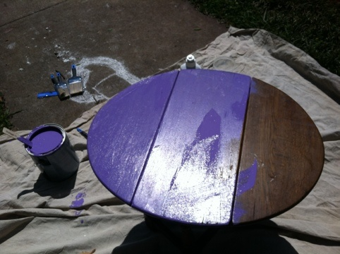 """BEFORE: this cute little wooden gateleg table that belonged to my grandparents is getting a #DIY makeover via Glidden """"Victorian Purple"""" semi-gloss: Casa Hickju, Glidden Victorian, Wooden Gateleg"""