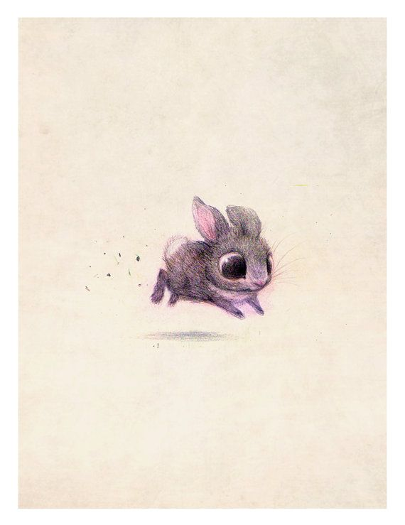 8x10 Bunny print on felted paper by PentwaterPaper on Etsy