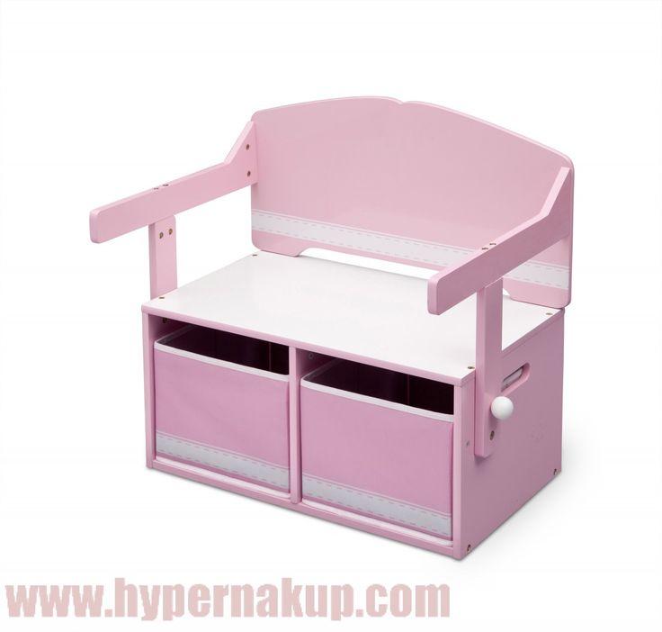 Prestaviteľná detská lavica  s úložným priestorom. Je možné bez námahy zmeniť lavicu na stolček, pod ktorým sú dva textilné zásobníky.doporučené pre deti od 2+-do 23kg-Vyrobené z drevených materiálov a tkaniny-prevedenie lavica sa ľahko zmení z lavice na stolčeku-rozmery (v cm): dĺžka x šírka x výška (62,23 x 43,18 x 57,15)-Jednoduchá montážDetská lavica s úložným priestorom 3v1 ružová | PREDAJ | HYPERNAKUP.COM