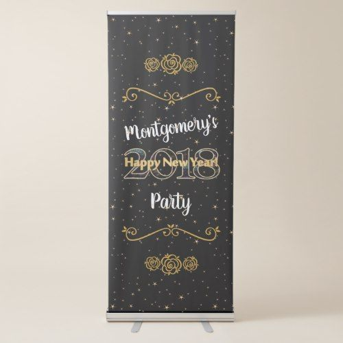 2018 New Year's Eve Black and Gold w/ Stars Party Retractable Banner