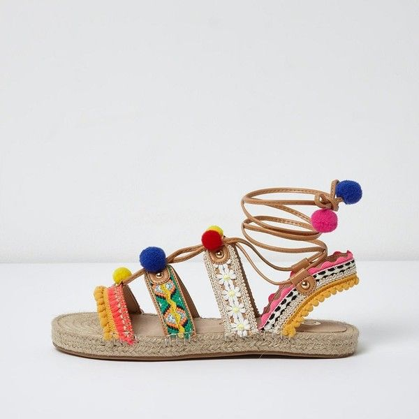 River Island Pink pom pom tie up espadrille sandals ($80) ❤ liked on Polyvore featuring shoes, sandals, pink, shoes / boots, women, embroidered sandals, strap sandals, embellished sandals, pink shoes and colorful pom pom sandals
