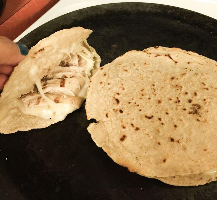 #leftover #homemade #corntortillas = #greattasting #quesadillas #grilled #chicken #sonoma #lepper #jackcheese  #quesadillas #bothways #half or #staked #homemade #byyecenia