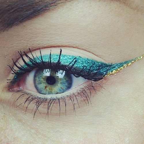 blue + gold accent cat eye