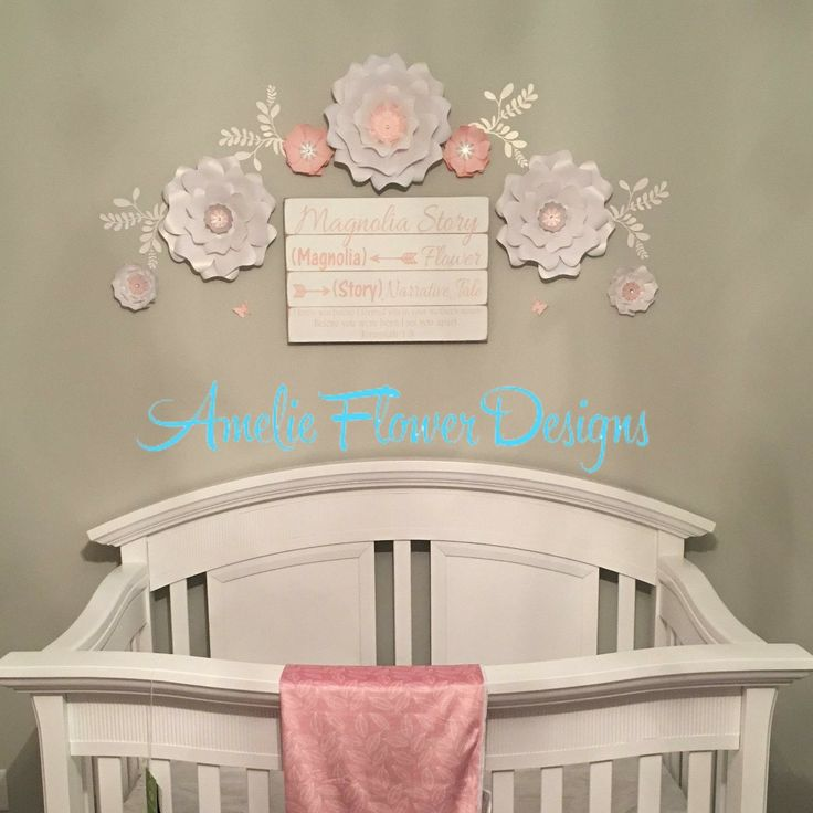 Nursery white flowers wall decor. Beautiful flowers for a sweet girl with a flower name Magnolia. I enjoyed making the flowers for you and loved seeing the picture. Thank you for sharing it with me!