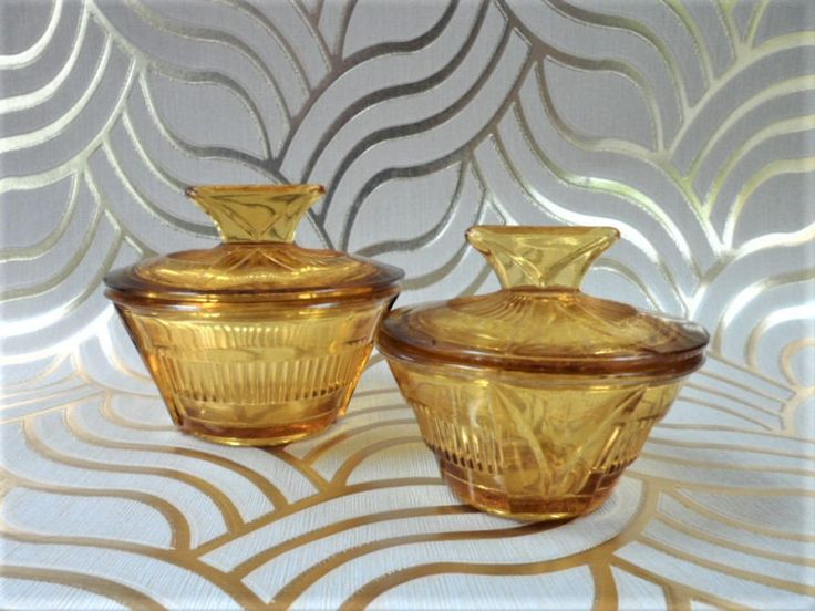 Amber Glass Vanity Table Pots Pair Lidded Art Deco Style Pressed Glass Trinket Powder Pots Vintage Interior Home Decor by BelieveToBeBeautiful on Etsy