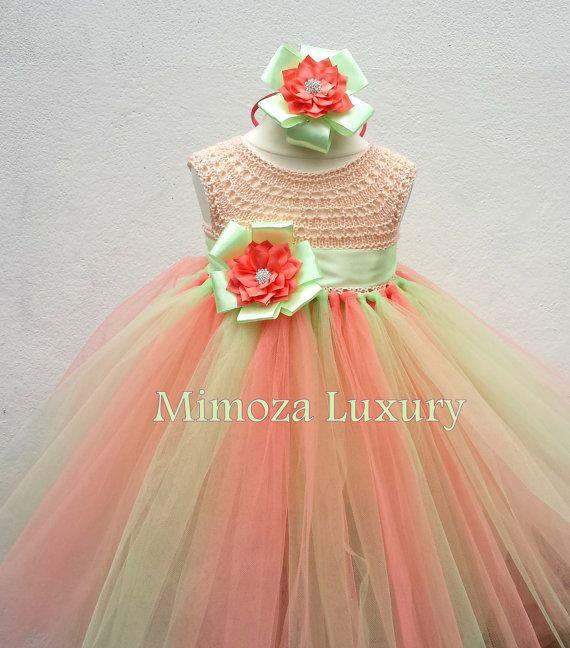 Vestido de la muchacha de flor de melocotón Coral por MimozaLuxury
