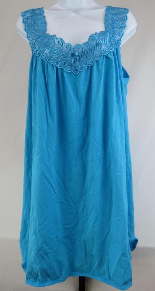 JUST LOVE Sleeveless Nightgown Size Large Sleepwear Turquoise feels like  Cotton a1d321219