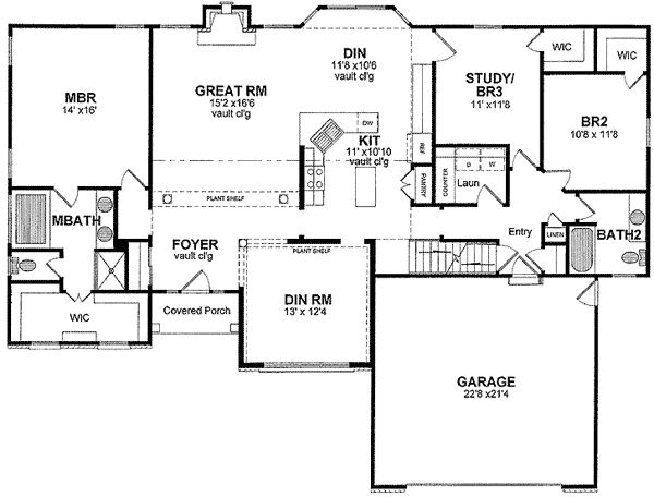 Plan 19592jf one level open floor plan ranch house for One level ranch style house