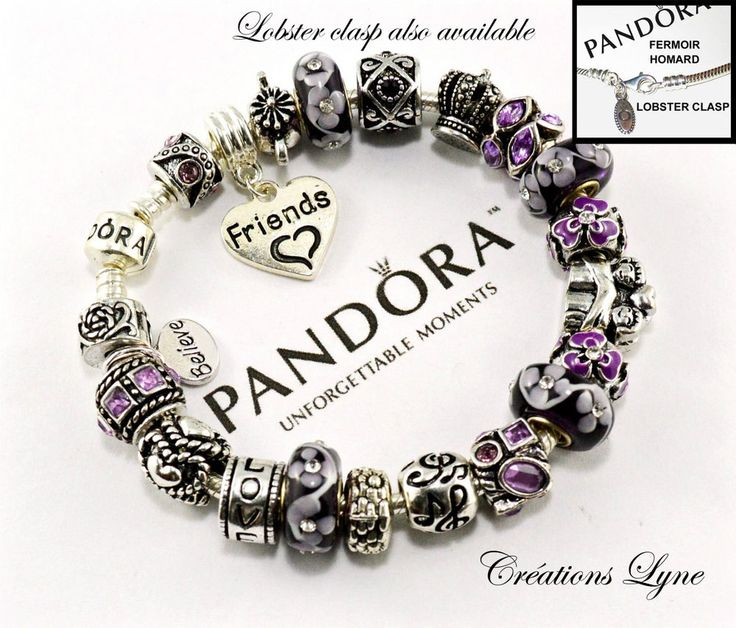 Authentic Pandora Sterling Silver 925 Charm Bracelet With