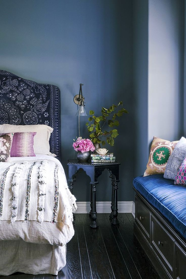 Bedroom with side table + window seat