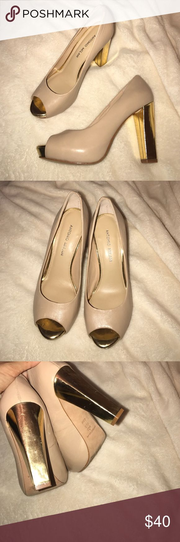 NWOT Antonio Melani nude + gold heels ✨ NWOT Antonio Melani nude leather heels with gold toe and heel. Peep toe. One inch platform & 4 inch heel (feels like 3 inch heels). EXTREMELY soft and comfortable. Worn for photos only. In great (not perfect) condition. ANTONIO MELANI Shoes
