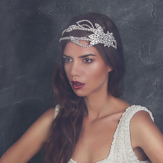 1920s Wedding Vintage Hollywood Deco Crystal Double by fabledreams, £145.00 .... wear your headbands forward, flapper style