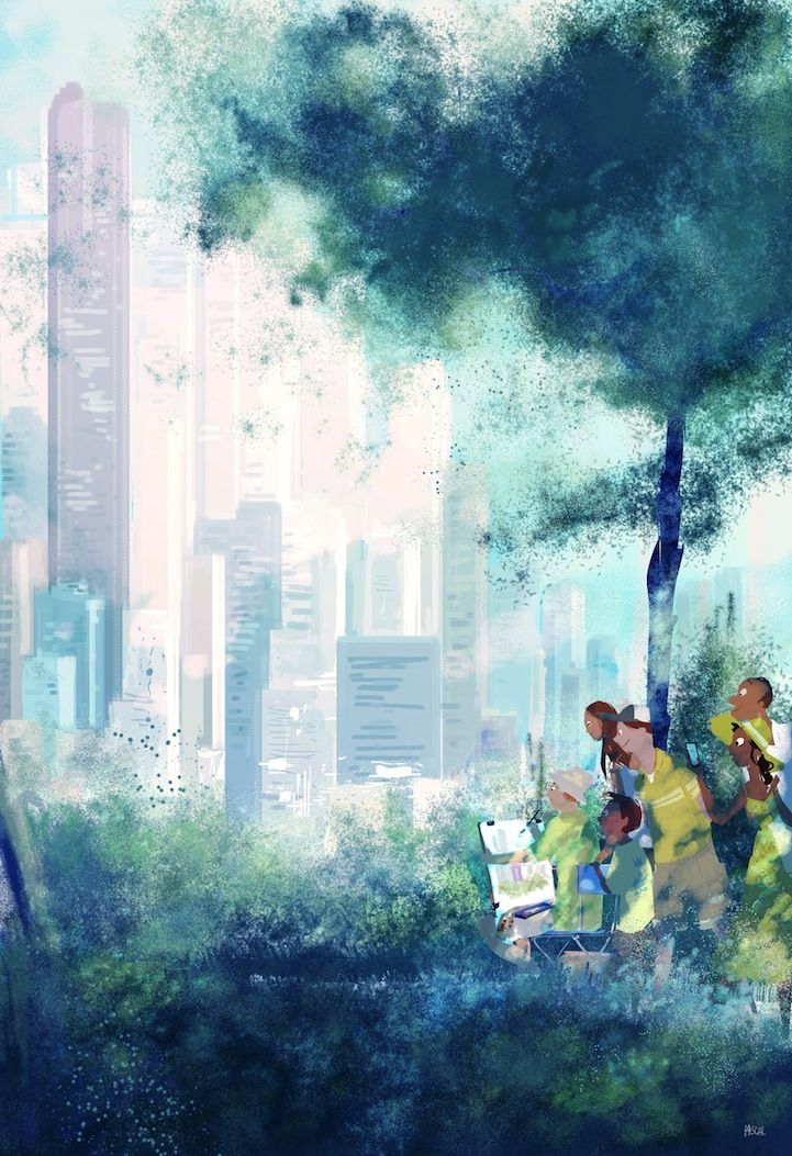 Whether they're set in nature or in a dizzying urban environment, artist Pascal Campion's illustrations add a sense of joy to living life. The San-Francisc