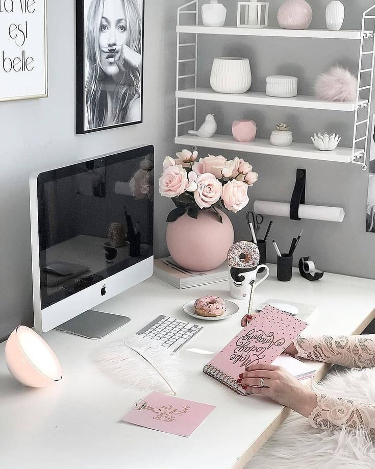 Pink, white and grey office setup
