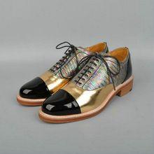 2017 primavera outono New Bullock sapatos rodada laço de couro de patente sapatos de Espessura com mulheres solteiras sapato Derby das mulheres Brogues oxfords(China (Mainland))
