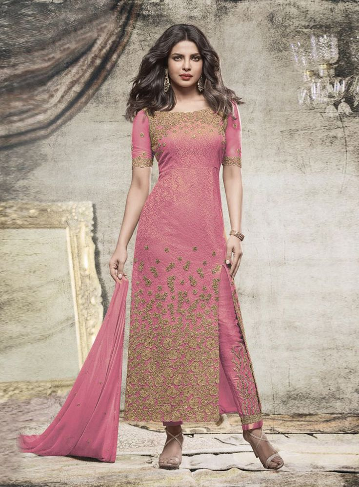 Buy Priyanka Chopra Pink Net Pant Style Suit 85650 online at lowest price from vast collection at m.indianclothstore.c.