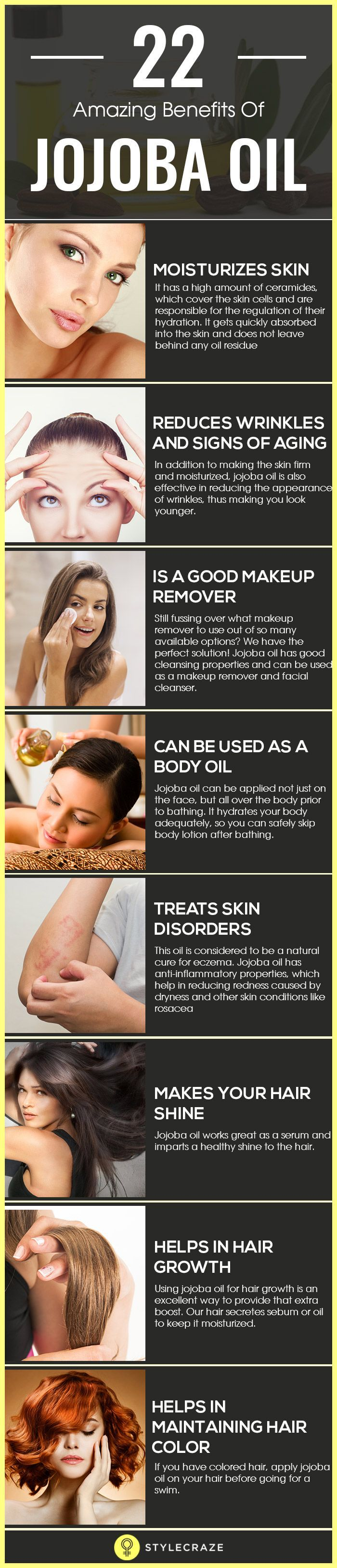 Jojoba oil is indeed a blessing as it is rich in important vitamins and minerals, including vitamins E and B-complex, zinc, copper, selenium, chromium, and iodine. And guess what? It suits all skin types. It is light, non-sticky, odorless, and has a long shelf life.
