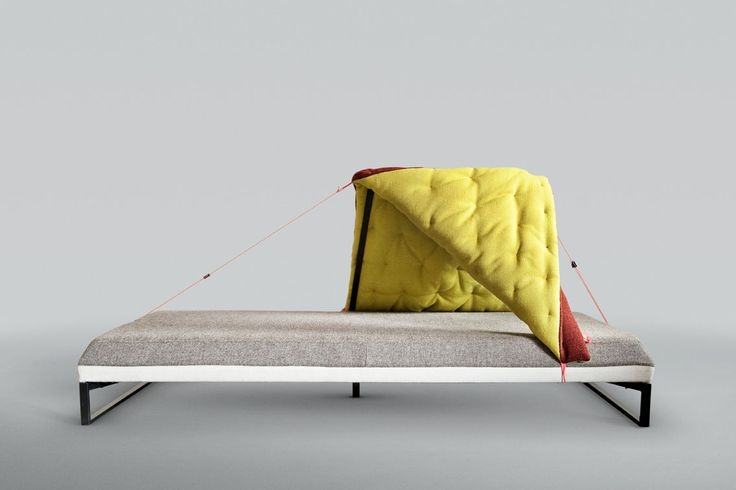 Studio Greiling - Hide & Sleep. Katrin Greiling's designs are directly influenced by her time spent travelling and working in different cultures around the world. The designer's daybed is a shelter for the traveler, a space to temporarily seek solitary comforts, to hide, relax, sleep and reflect. Its tent-like structure pays homage to the traveling Bedouin trivesmen, whose lifestyle has long embraced this cosy, yet highly flexible residence.