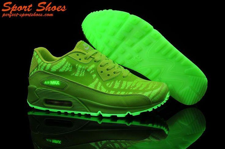 Cheap Mens Nike Air Max 90 Green Glow In The
