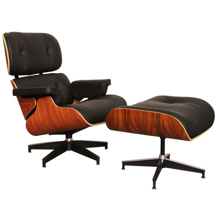Eames Style Lounge Chair and Ottoman - Rosewood & Black Leather