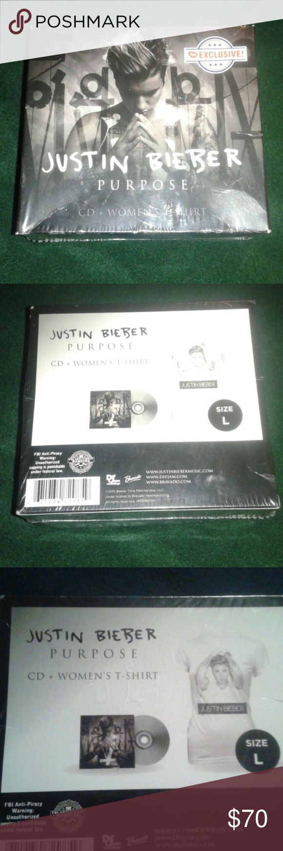 Justin Bieber Purpose CD + Shirt Combo Box Set New and never opened combo box set. It's a F.Y.E. Exclusive. Women's shirt size is a L. That what the box says. justin bieber Tops Tees - Short Sleeve