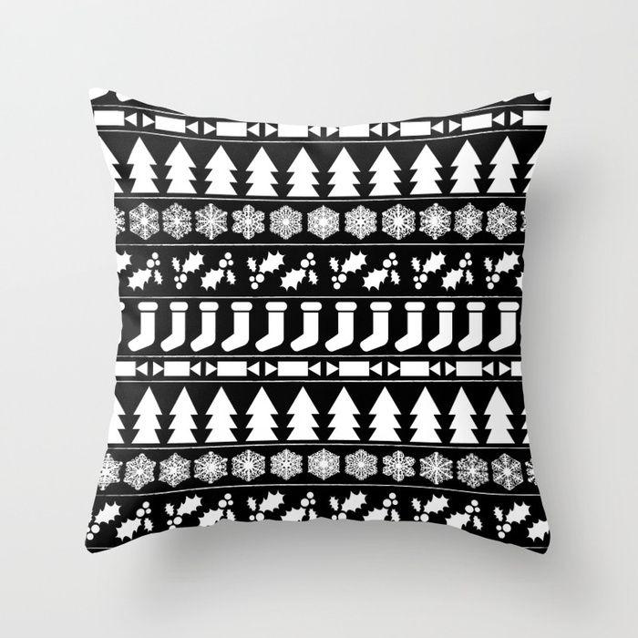 White Christmas Throw Pillow by Fimbis      -------------------- interior design, black and white, snowflakes, monochrome, bah humbug, festive, home decor,