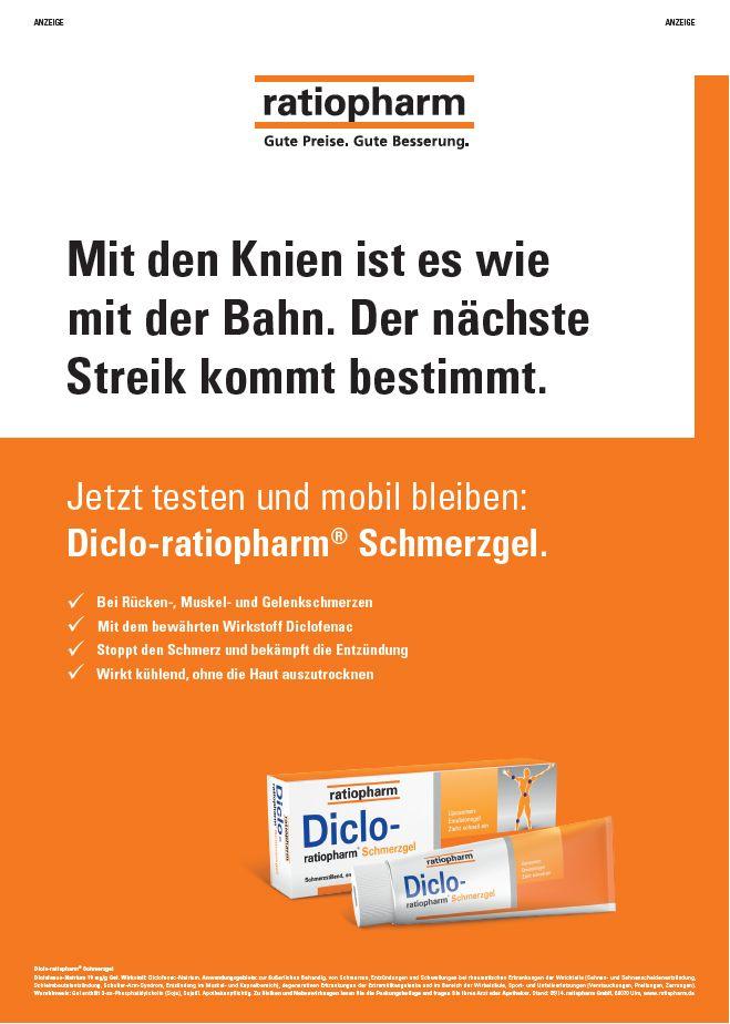 Ratiopharm Diclo bei Schmerzen. Mit den Knien ist es wie mit der Bahn. Der nächste Streik kommt bestimmt.  Bild Anzeige vom 26.05.2015  #schmerzen #schmerzgel #ratiopharm #Werbeanzeige #Werbung #Diclo #Gesundheit #Versandapotheke #Versand #Apotheke