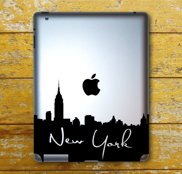 New york skyline with writing ipad decal ipad 1 ipad 2 ipad 3