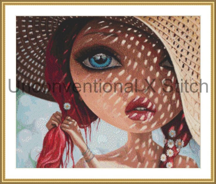 Redhead at the beach in straw hat with flowers in her hair cross stitch pattern chart - Borda licensed by UnconventionalX on Etsy