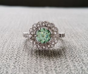 "Halo Blue Green Moissanite Diamond Ballerina Antique Engagement Ring Gemstone Flower Filigree Mint Aqua Round 14K White Gold ""The Mae"""