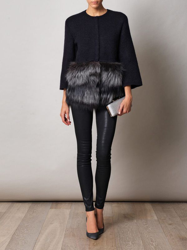 Love this look. Leather. Faux fur.