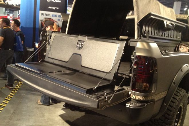 Flip-up Ram tailgate seat from Mopar | Expedition Truck ...