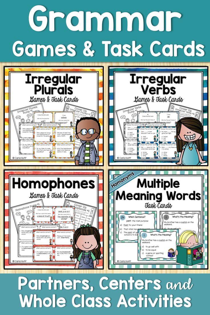 Grammar Games Bundle Homophones Homonyms Irregular Verbs And Plurals Grammar Games Grammar Activities Compound Words [ 1104 x 736 Pixel ]