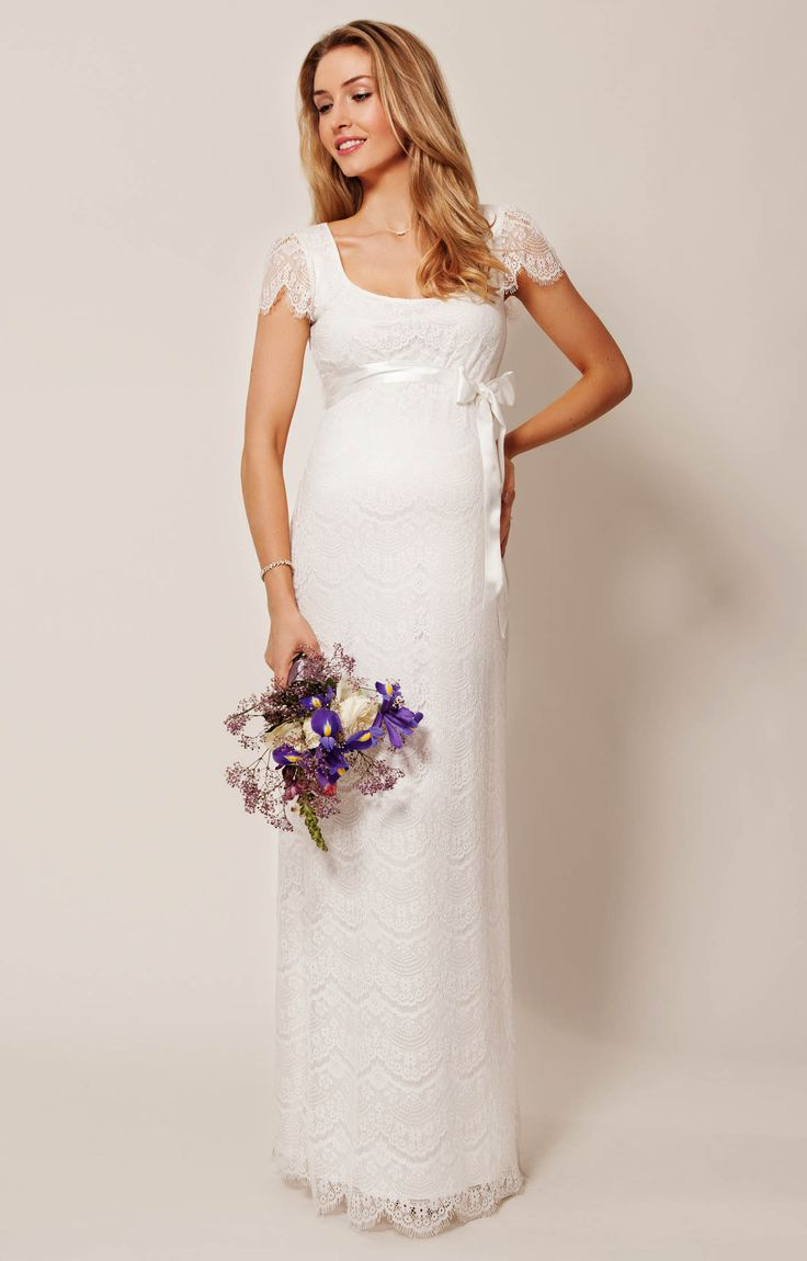 Our best-selling Flutter dress in a full length bridal version. Our softest stretch ivory lace with vintage inspired eyelash detailing makes this a romantic maternity wedding dress choice from dawn to dusk.