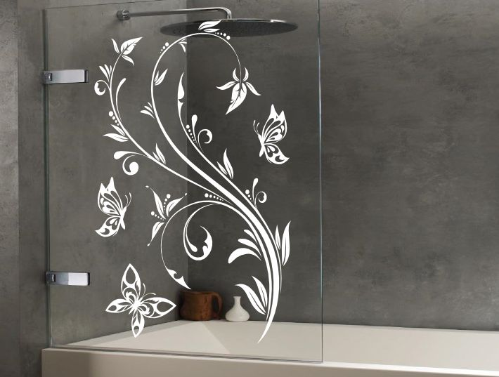 Floral Design Butterflies For The Glass Screen Panels And Doors Of Showers.  The Floral Design Butterflies Shower Door Transfers Are Available To You In  One ...
