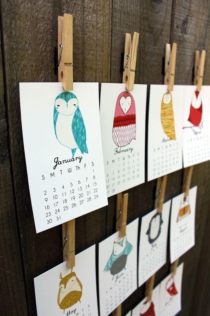Illustrated Owl Calendar (by Gingiber on Etsy): Illustrations Owl, Crafts Ideas, Gifts Ideas, Calendar Ideas, Calendar Design, Owl Calendar, Wall Calendar, Desks Calendar, Display Stands