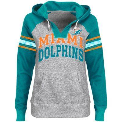 Miami Dolphins Ladies Huddle III Pullover Hoodie - Ash/Aqua