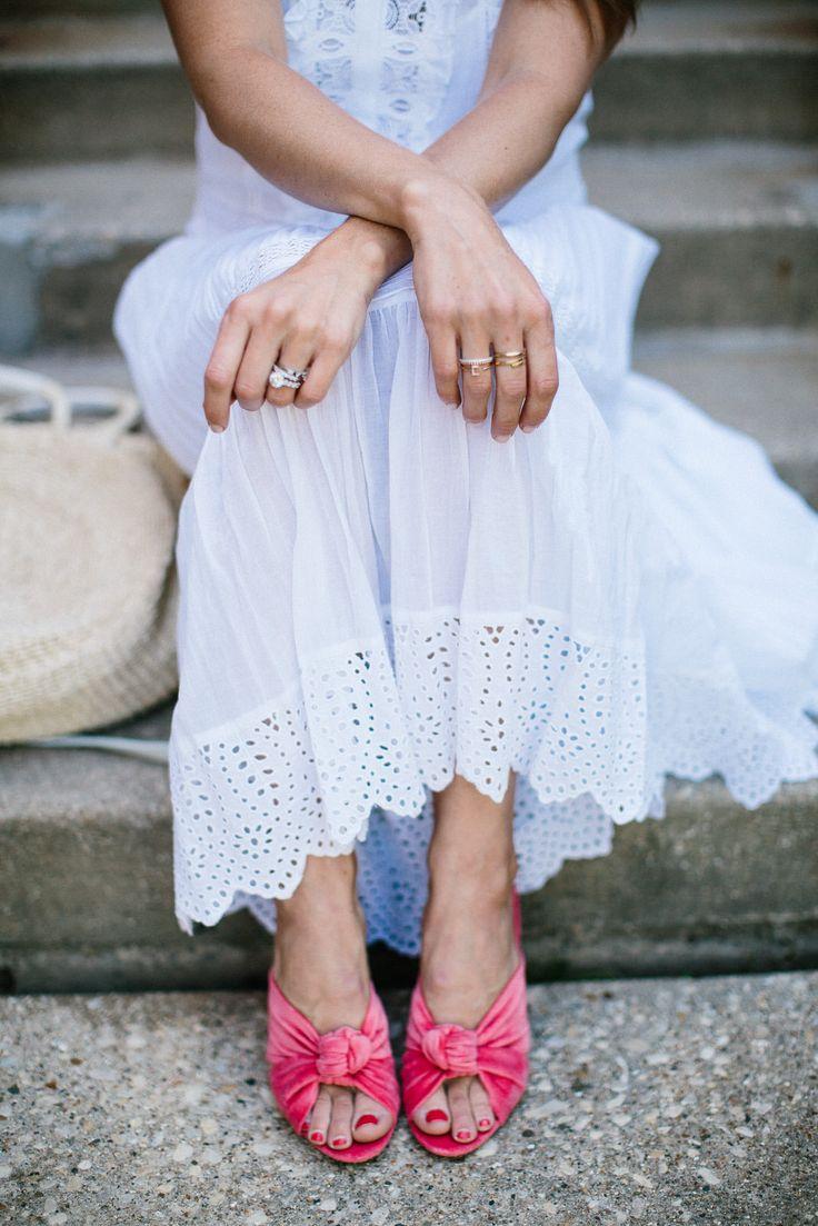 Rebecca Taylor white eyelet midi dress + Loeffler Randall pink mules #pink #shoes #eyelet #white #mididress