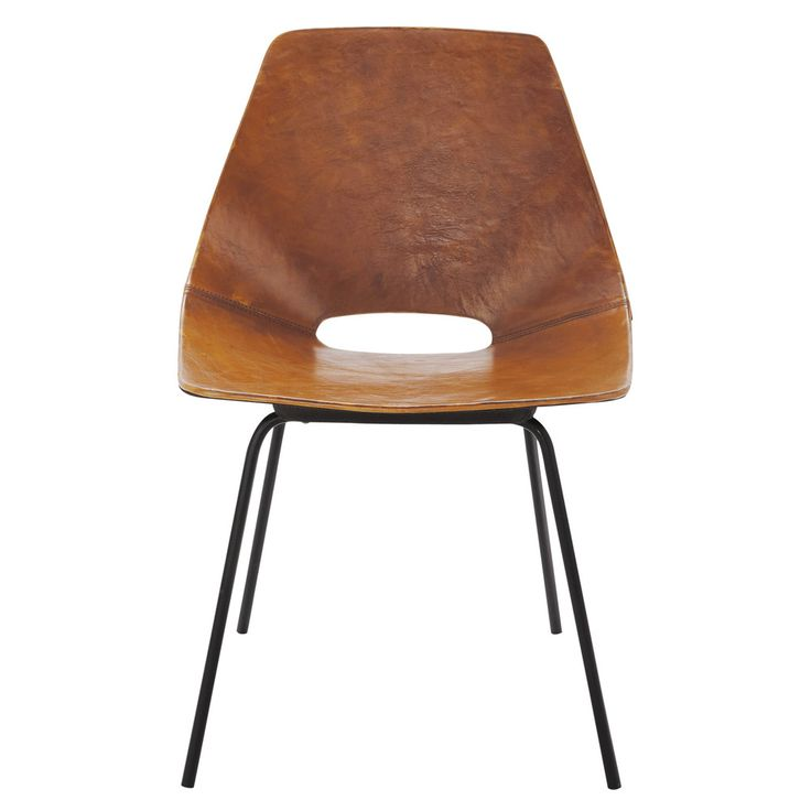 Leather and metal Guariche Tonneau chair in brandy colour
