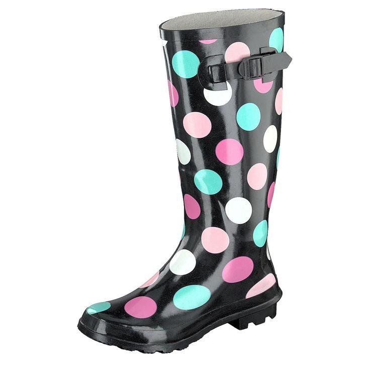 Gosch Shoes Sylt Damen Gummistiefel Langschaftstiefel schwarz, bunte Punkte #gosch #stiefel #pünktchen #und_anton