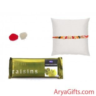 Send the best rakhi wishes to your dearest brother and show how much you will miss them on this Raksha Bandhan. Beautiful beads rakhi with Cadbury Temptations Rum Raisins 72 gm. we also offer free kumkum and chawal for tilak.Rakhi design may differ as per the stock available.