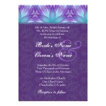 Aqua Blue and Royal Purple Purple Wedding V2 Card