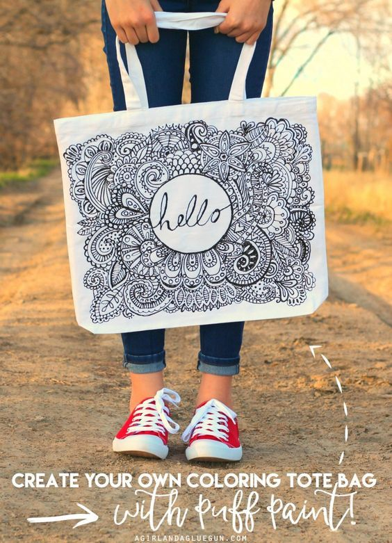coloring canvas tote bag --diy your own with puff paint! Totally fun craft! Got to try this!: