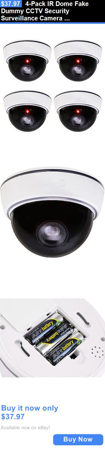 Dummy Cameras: 4-Pack Ir Dome Fake Dummy Cctv Security Surveillance Camera Led Record Light BUY IT NOW ONLY: $37.97