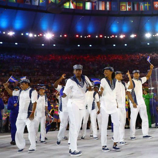 2016 Rio Olympics - Opening Ceremony - Maracana - Rio de Janeiro, Brazil - 05/08/2016. Flagbearer Maria Andrade (CPV) of Cape Verde leads…